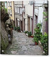 Houses Along Alley In The Old Town Of Porto Acrylic Print