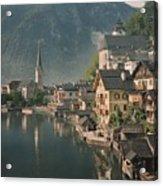 Houses Line The Lake Of Hallstatt Acrylic Print