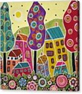 Houses Trees Flowers Acrylic Print