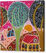 Houses Trees Whimsical Landscape Acrylic Print