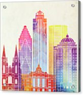 Houston Landmarks Watercolor Poster Acrylic Print