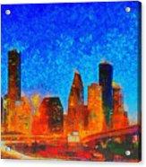 Houston Skyline 130 - Pa Acrylic Print