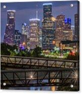 Houston Skyline Over Buffalo Bayou At Twilight Acrylic Print