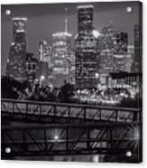 Houston Skyline With Rosemont Bridge In Bw Acrylic Print