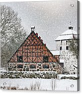 Hovdala Castle Gatehouse And Stables In Winter Acrylic Print