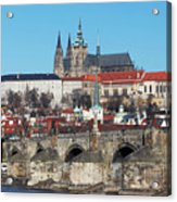 Hradcany - Cathedral Of St Vitus And Charles Bridge Acrylic Print