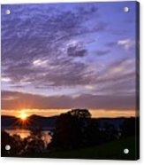 Hudson River Sunset Rockwood Acrylic Print