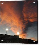Hughes Stadium Sunset Acrylic Print by Sara  Mayer