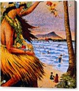 Hula Flower Girl 1915 Acrylic Print
