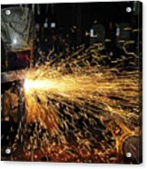 Hull Maintenance Technician Welds Scrap Acrylic Print