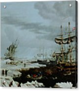 Hull Whalers In The Arctic  Acrylic Print by Thomas A Binks