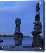 Human Figures Made From Stones At Night Acrylic Print