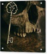 Human Skull With Vintage Key Acrylic Print