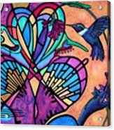 Hummingbird And Stained Glass Hearts Acrylic Print