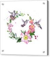 Hummingbird Wreath In Watercolor Acrylic Print