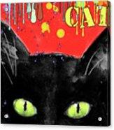 humorous Black cat painting Acrylic Print by Svetlana Novikova