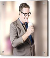 Humorous Businessman Licking Top Of Coffee Cup Acrylic Print