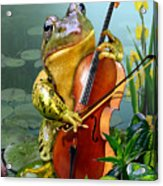 Humorous Scene Frog Playing Cello In Lily Pond Acrylic Print