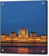 Hungarian Parliament Building At Night In Budapest Acrylic Print