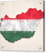 Hungary Map Art With Flag Design Acrylic Print