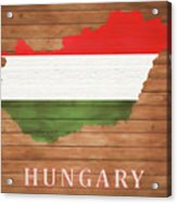 Hungary Rustic Map On Wood Acrylic Print