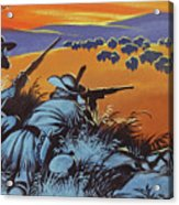 Hunting Buffalo In America Acrylic Print