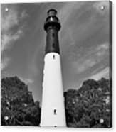 Hunting Island Lighthouse Beaufort Sc Black And White Acrylic Print