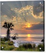 Hunting Island Sc Sunrise Palm Acrylic Print