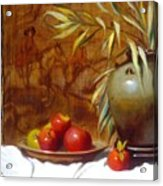 Hunting Tapestry With Chinese Vase And Apples Acrylic Print