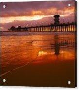 Huntington Beach At Sunset Acrylic Print