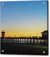 Huntington Beach High Surf At Night Acrylic Print