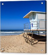 Huntington Beach Lifeguard Tower Photo Acrylic Print by Paul Velgos