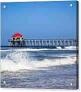 Huntington Beach Pier Photo Acrylic Print by Paul Velgos
