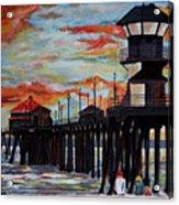 Huntington Beach Pier Sunset Acrylic Print
