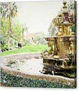 Huntington Fountain Morning Mist Acrylic Print by David Lloyd Glover