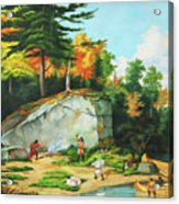 Huron's At A Portage Preparing To Camp Acrylic Print