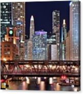 Hustle And Bustle Night Lights In Chicago Acrylic Print