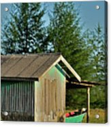 Hut With Green Boat Acrylic Print