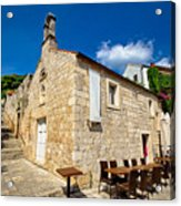 Hvar Old Stone Church And Antic Steps Acrylic Print