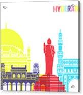 Hyderabad Skyline Pop Acrylic Print