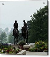 Hyrum And Joseph Smith Statue In The Mist From The Mississippi Acrylic Print