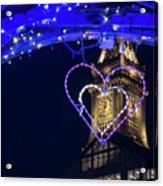 I Heart Boston Ma Christopher Columbus Park Trellis Lit Up For Valentine's Day Acrylic Print