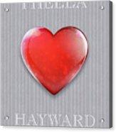 I Hella Love Hayward Ruby Red Heart On Gray Flannel Acrylic Print