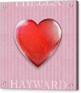 I Hella Love Hayward Ruby Red Heart On Pink Flannel Acrylic Print