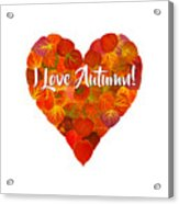 I Love Autumn Red Aspen Leaf Heart 1 Acrylic Print