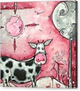 I Love Moo Original Madart Painting Acrylic Print