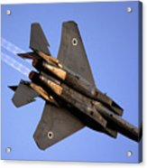 Iaf F15i Fighter Jet On Blue Sky Acrylic Print