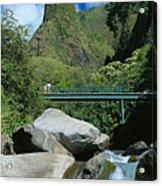 Iao Needle And Creek Acrylic Print