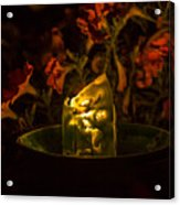 Ice Candle With Petunias Acrylic Print