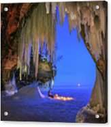 Ice Cave Setting Full Moon Serenity Acrylic Print